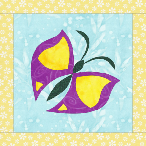 Purple appliqued butterfly on a blue background.